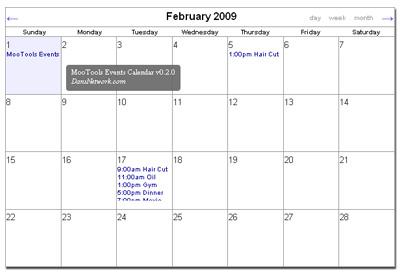 Javascript Calendar.Mootools Events Calendar